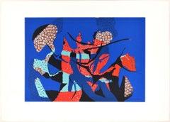 Blue Composition - Original Screen Print by Wladimiro Tulli - 1970s