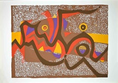 Brown Composition - Original Colored Screen Print by Wladimiro Tulli - 1970s