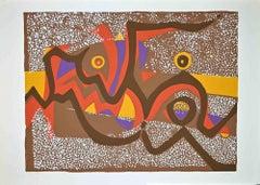 Brown Composition - Original Screen Print by Wladimiro Tulli - 1970s