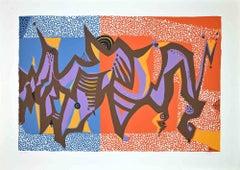 Carnivalesque Composition - Original Screen Print by Wladimiro Tulli - 1970s