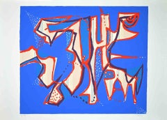 Composition in Blue - Original Screen Print by Wladimiro Tulli - 1970s