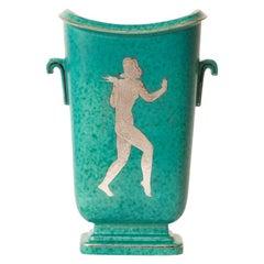 Wlihelm Kage Gustavsberg Argenta Ceramic with Sterling Overlay Vase or Vessel
