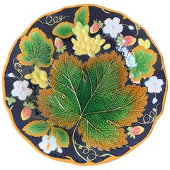 Wm. Brownfield Majolica Leaf and Strawberry Plate in Cobalt Blue, English, 1876