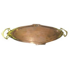 WMF Art Nouveau Brass and Copper Tray with Celtic Style Details