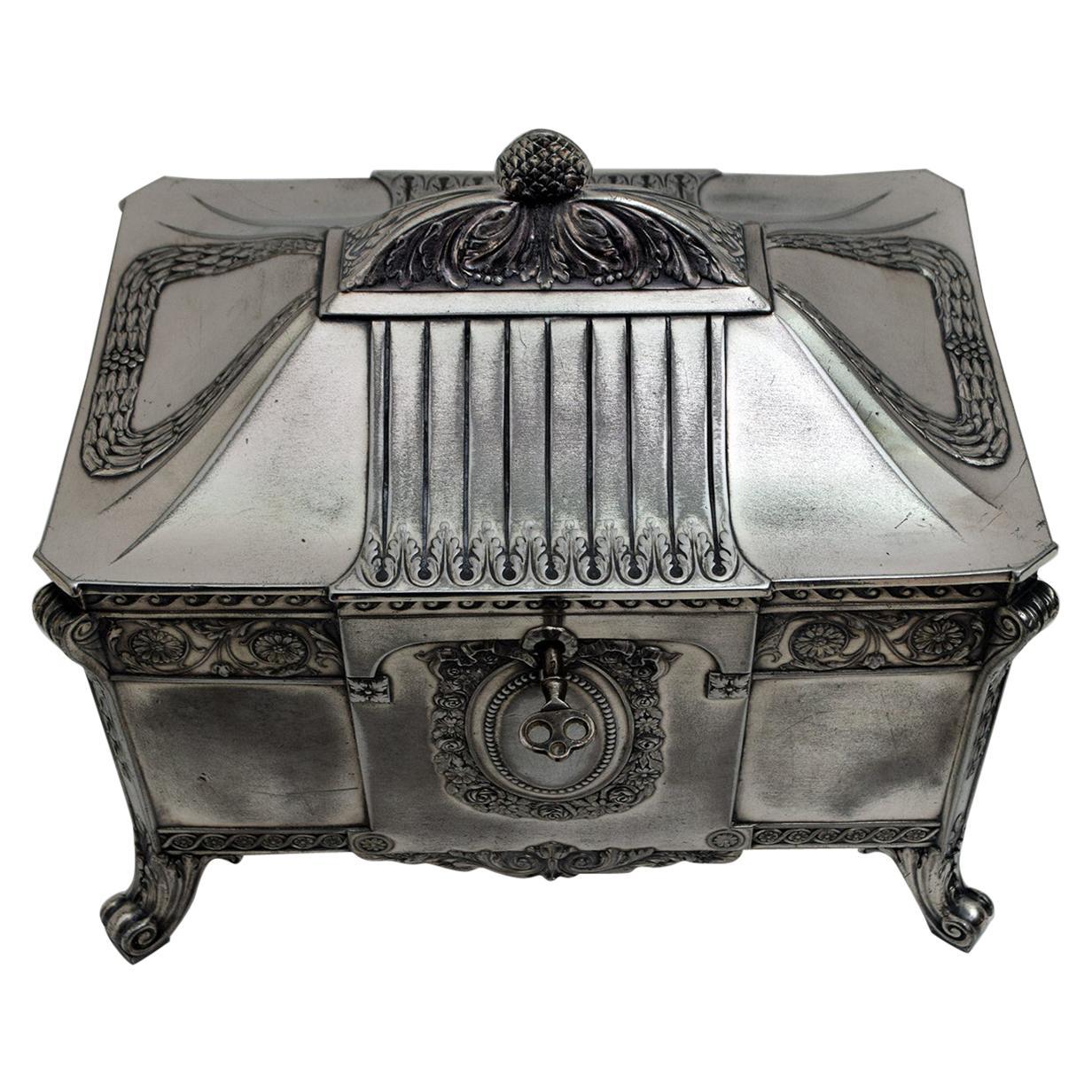 WMF Art Nouveau Germany Silver Plate Jewelery Box, 1900s