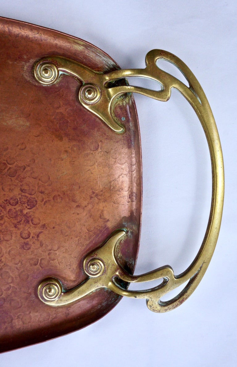 Women's or Men's WMF Art Nouveau Hand Hammered Copper Tray with Brass Handles For Sale