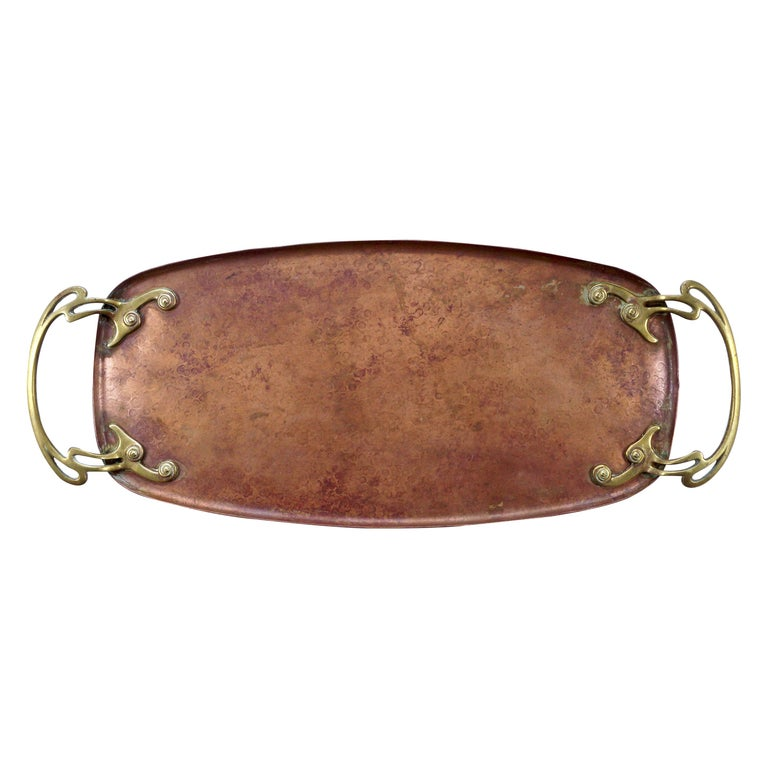WMF Art Nouveau Hand Hammered Copper Tray with Brass Handles For Sale