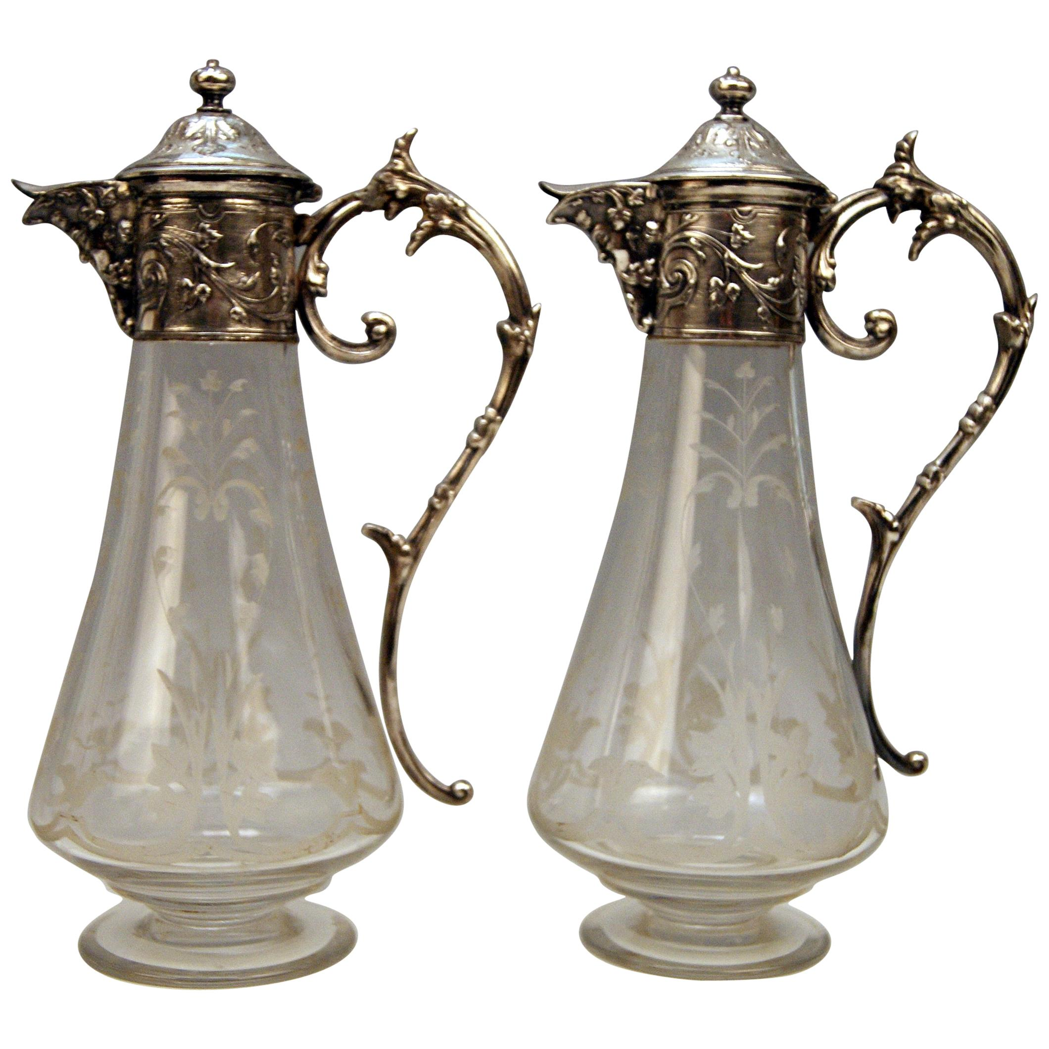 WMF Art Nouveau Pair of Claret and Water Jugs Silver Plated, Germany, circa 1900