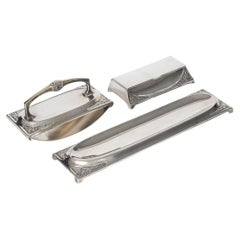 WMF Art Nouveau Silver Plate 3 Piece Desk Set Stamp Holder Blotter Pen Tray