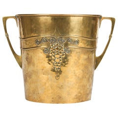 WMF German Jugendstil Hammered Brass Twin Handled Ice Bucket