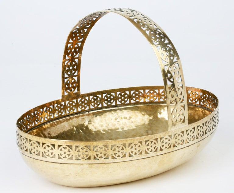 WMF German Jugendstil Pierced Brass Bread Basket in Manner of Josef Hoffmann For Sale 1