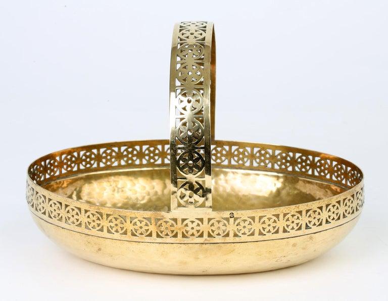 WMF German Jugendstil Pierced Brass Bread Basket in Manner of Josef Hoffmann For Sale 2