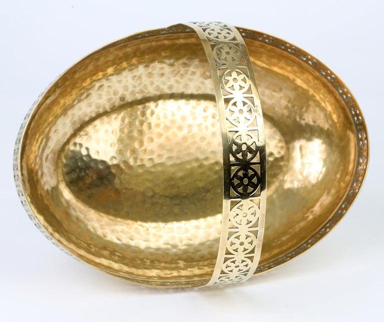 WMF German Jugendstil Pierced Brass Bread Basket in Manner of Josef Hoffmann For Sale 4