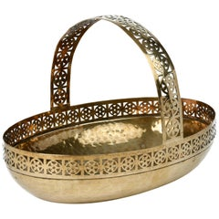 WMF German Jugendstil Pierced Brass Bread Basket in Manner of Josef Hoffmann