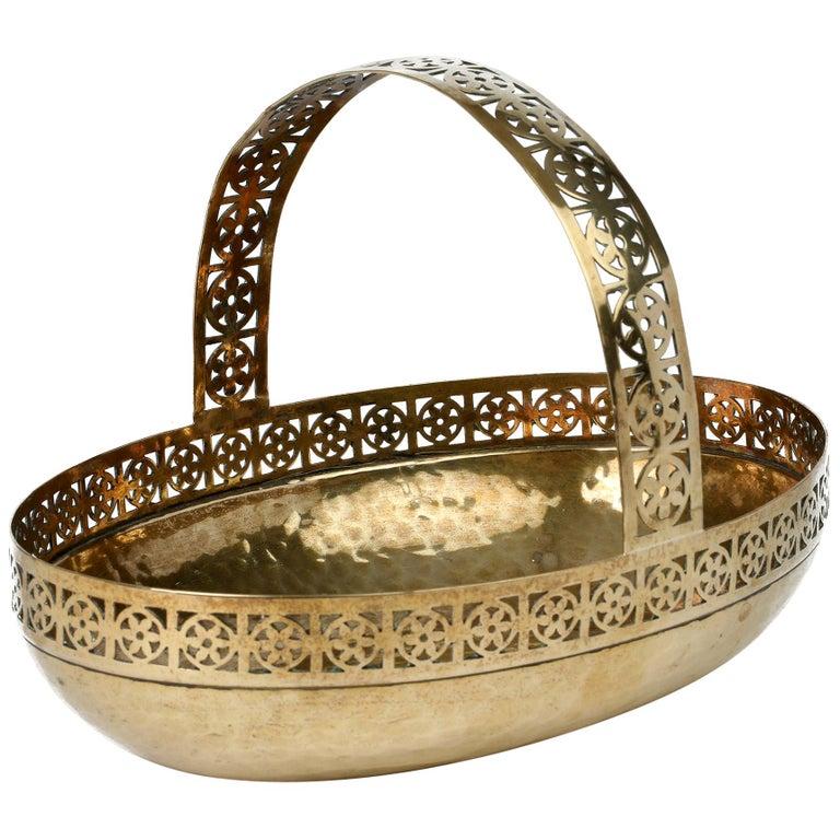 WMF German Jugendstil Pierced Brass Bread Basket in Manner of Josef Hoffmann For Sale