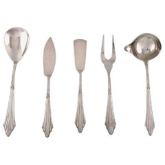 WMF, Germany, Five Art Deco Facker Serving Parts in Plated Silver, 1930s