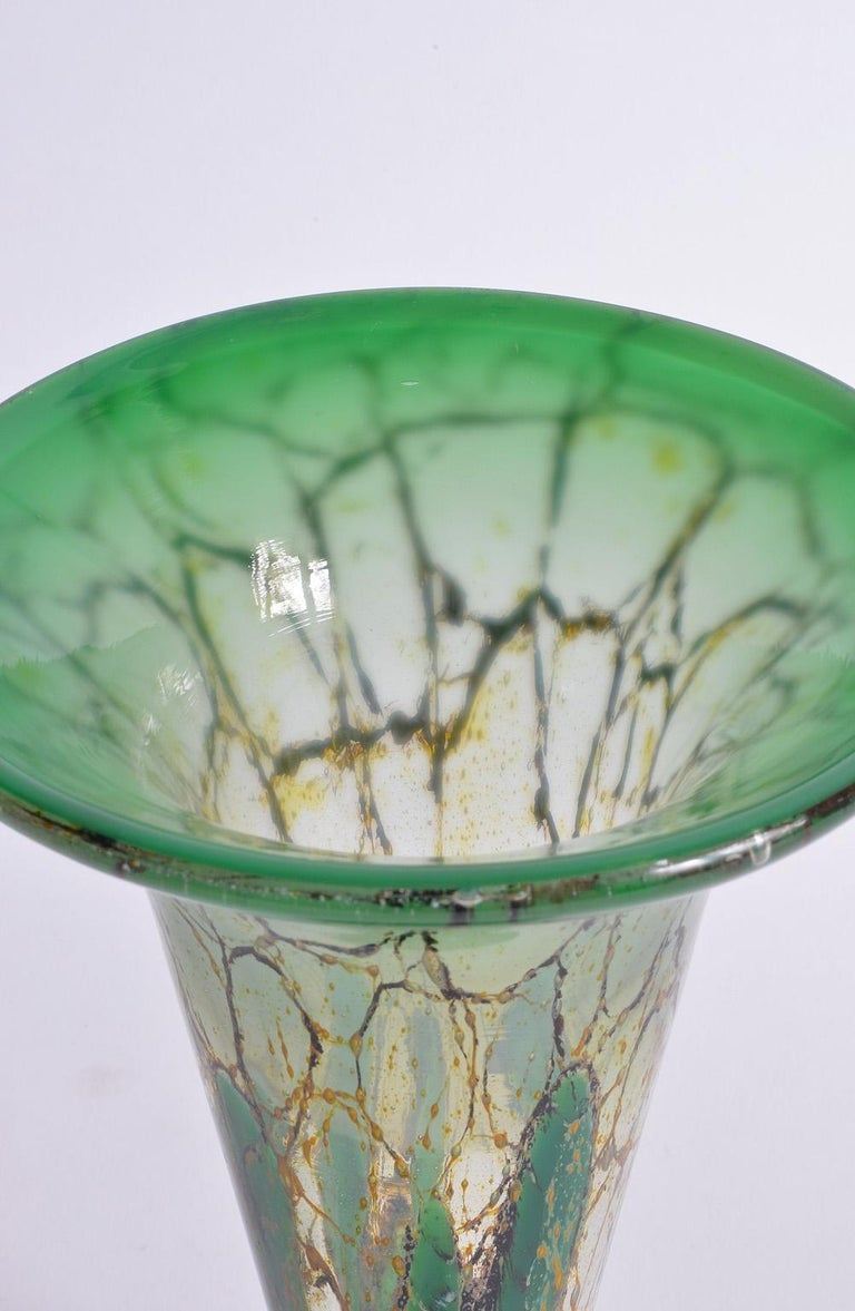 WMF Ikora Flared Trumpet Glass Vase Art Deco Green Colored, Germany, 1930s 3