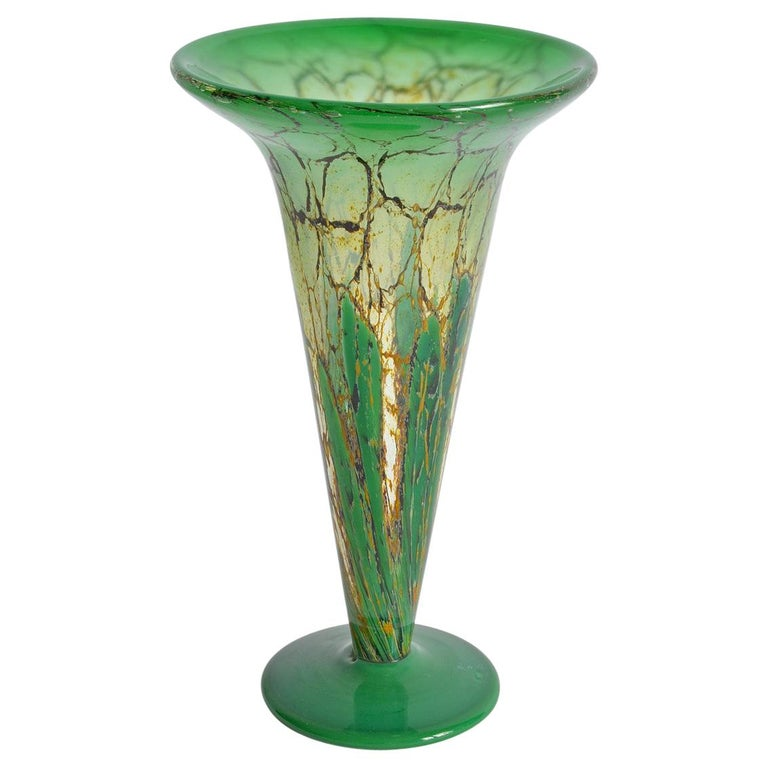 WMF Ikora Flared Trumpet Glass Vase Art Deco Green Colored, Germany, 1930s 1