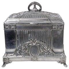 WMF Jewellery Box Jugendstil Secessionist Silver Plate, Germany, circa 1900