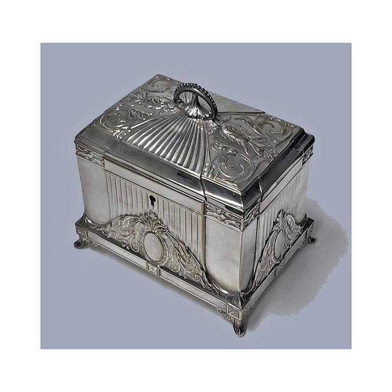 WMF Jugendstil secessionist silver plate jewellery box, Germany, circa 1900. The box of rectangular shape on four turned stylised supports, conforming in style to cornices and decoration of sides and concave dome shape hinged cover with