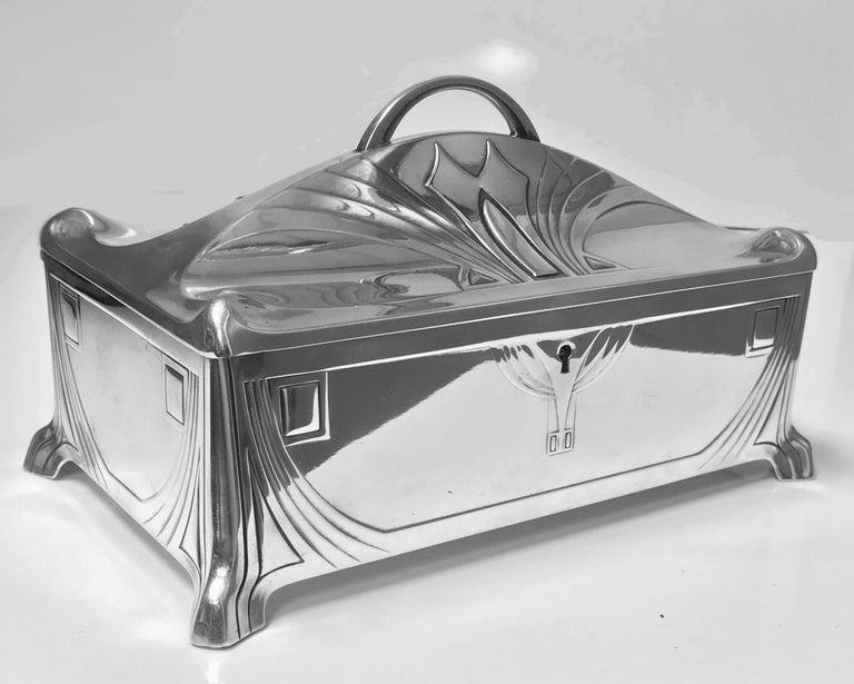 Art Nouveau WMF Jugendstil Secessionist Silver plate  Box, Germany For Sale