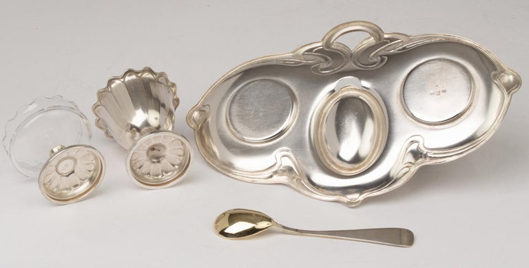 Early 20th Century WMF Jugendstil Silver Plated Egg and Salt Serving Tray For Sale