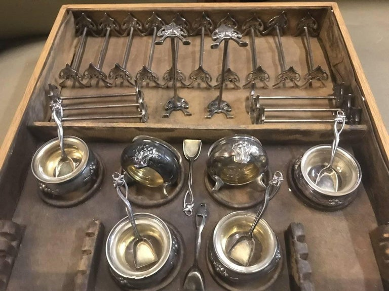 WMF Rare Art Nouveau Silver Plated Cutlery Set for 24 Persons For Sale 6