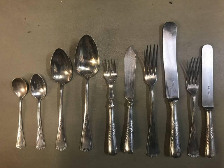 WMF Rare Art Nouveau Silver Plated Cutlery Set for 24 Persons For Sale 8