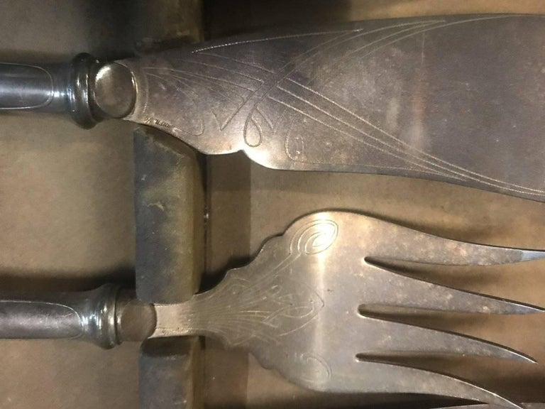 WMF Rare Art Nouveau Silver Plated Cutlery Set for 24 Persons For Sale 15