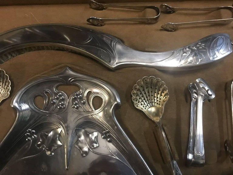 WMF Rare Art Nouveau Silver Plated Cutlery Set for 24 Persons For Sale 3