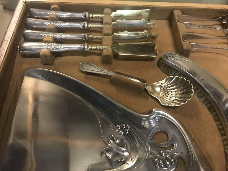 WMF Rare Art Nouveau Silver Plated Cutlery Set for 24 Persons For Sale 4