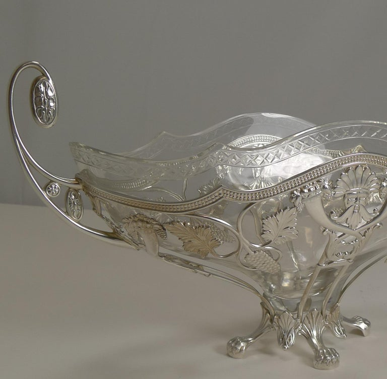 20th Century WMF Silver Plated Centrepiece / Bowl, Original Crystal Liner, circa 1900 For Sale