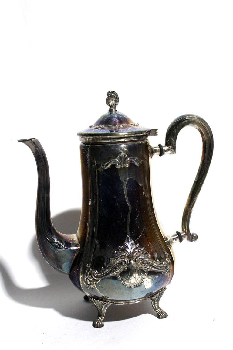 WMF Chippendale tea coffee set, circa 1920. Silver plated, made in Geislingen, Germany.