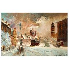 Wociech Kosowski 'Polish' City Scene in Winter