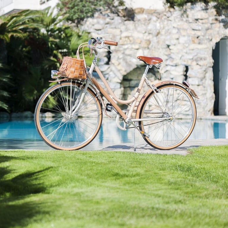Modern Women's Leather- Covered Bicycle Natural For Sale