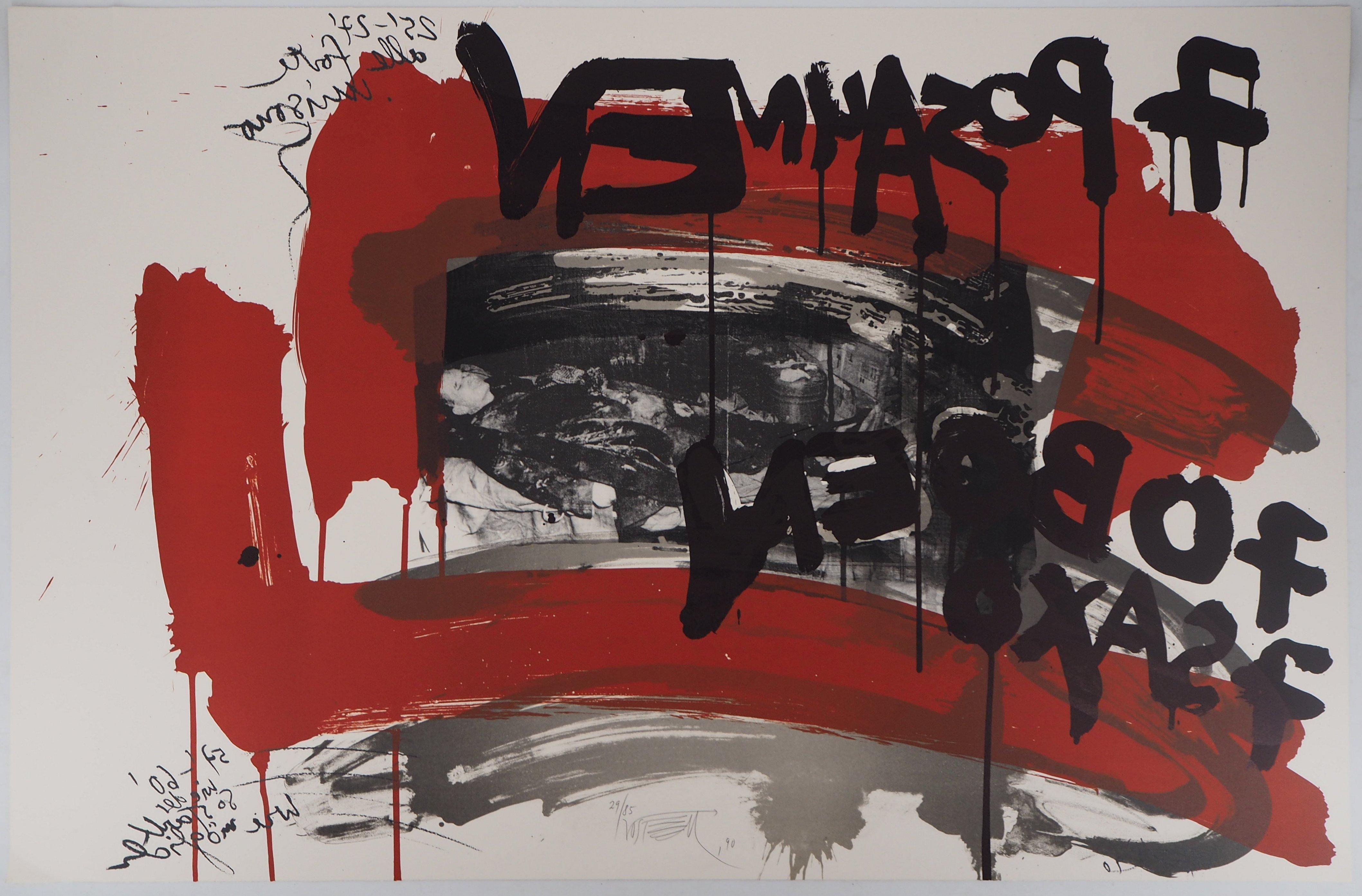 The Scream,  Man in black - Original handsigned lithograph - Ltd 85 cop (Fluxus)