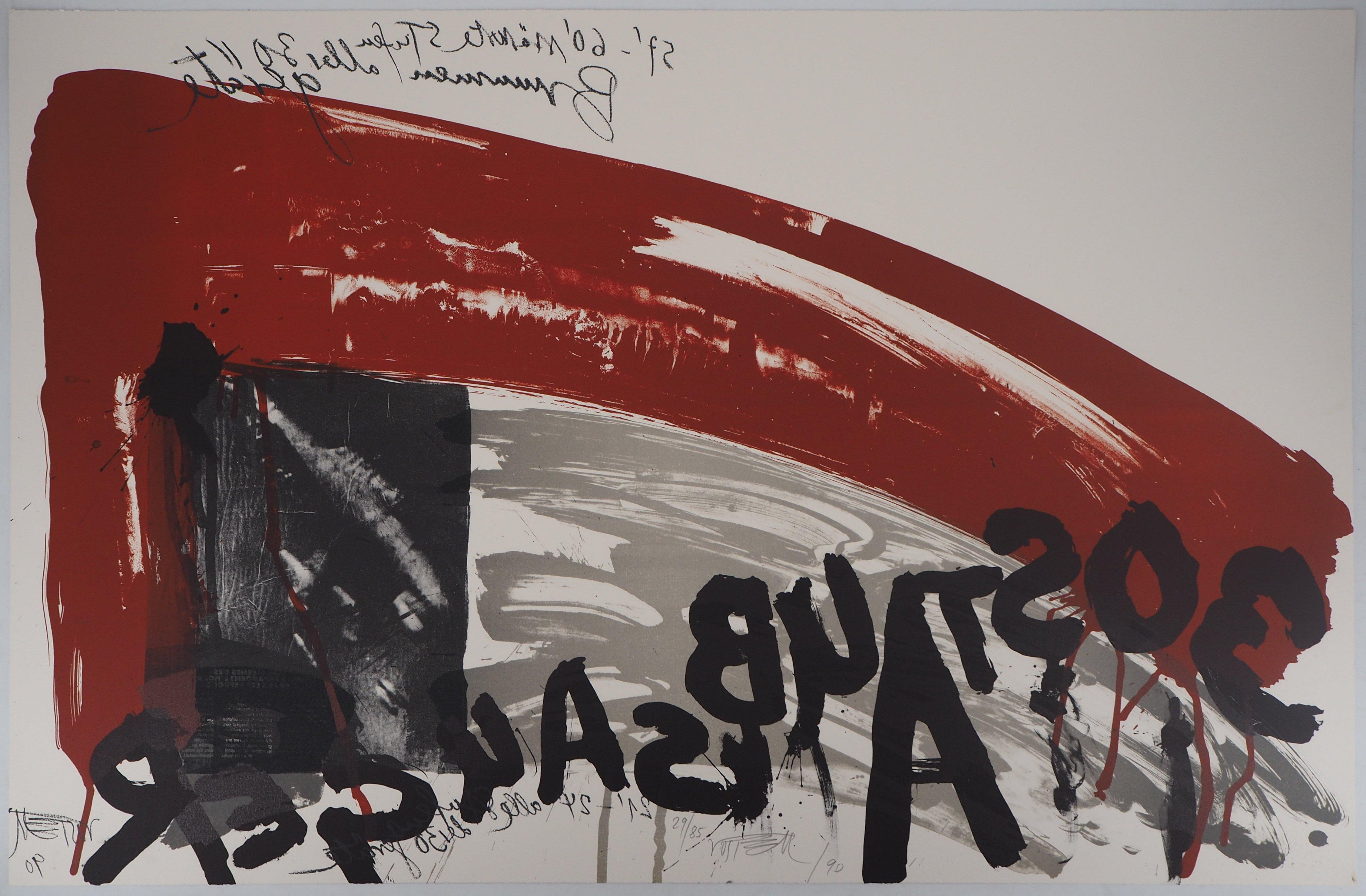 The Scream,  Night Attack - Original handsigned lithograph - Ltd 85 cop (Fluxus)