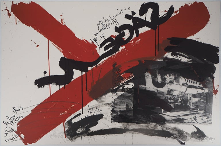 Wolf Vostell Figurative Print - The Scream,  The Accident - Original handsigned lithograph - Ltd 85 cop (Fluxus)