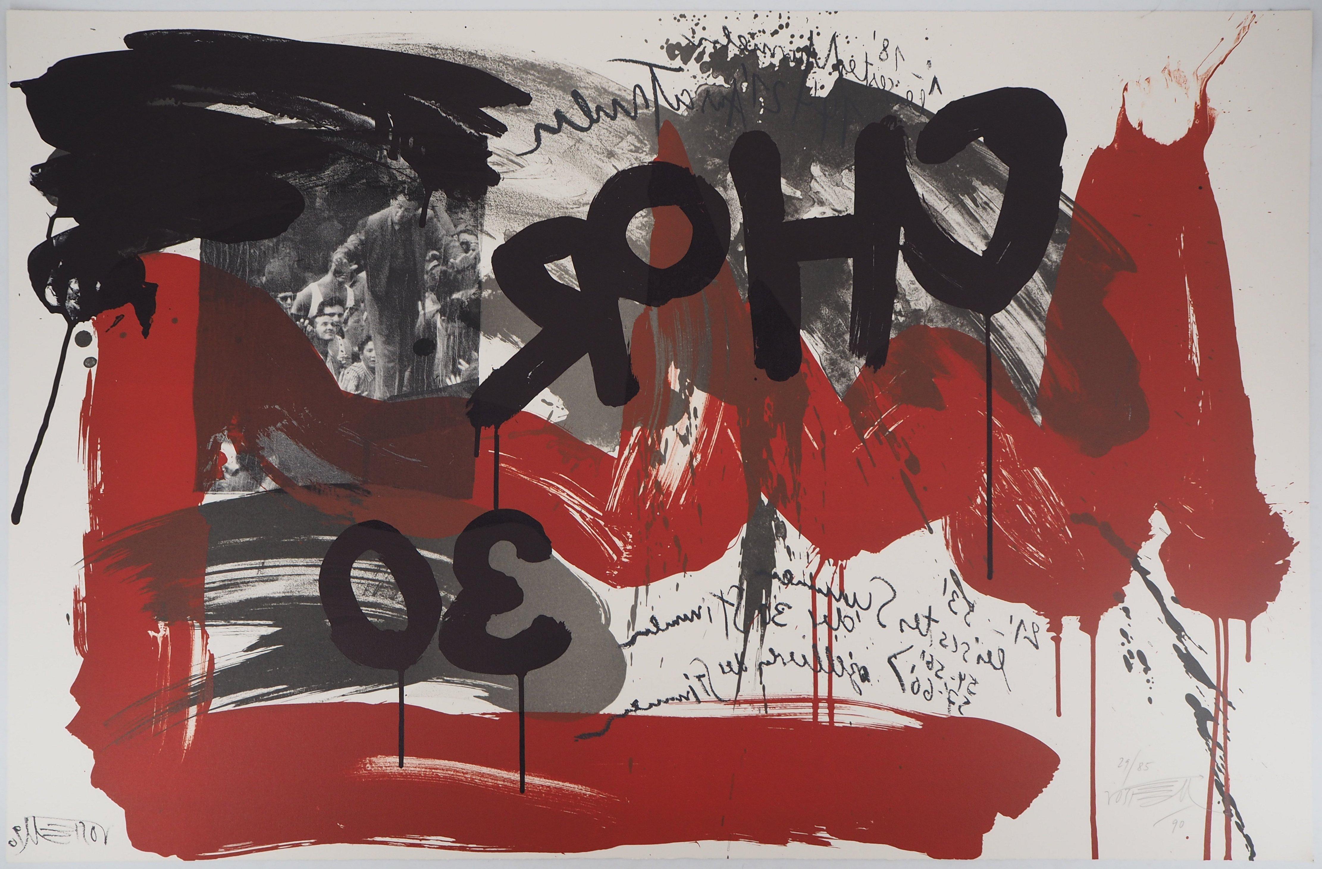 The Scream,  The Crowd - Original handsigned lithograph - Ltd 85 cop (Fluxus)