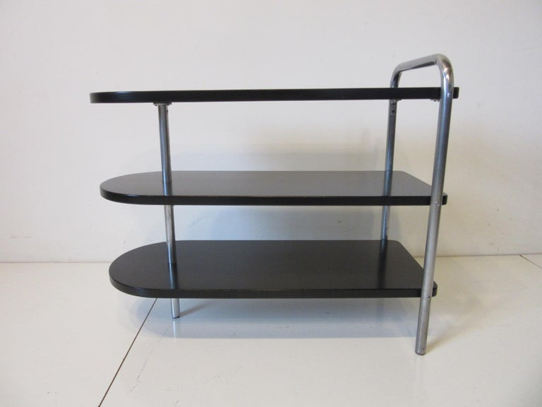 Machine Age Wolfgang Hoffman Deco Tri Tiered Side Table by Howell For Sale