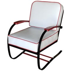 Wolfgang Hoffmann Custom Red and Black Springer Recliner Chair for Howell