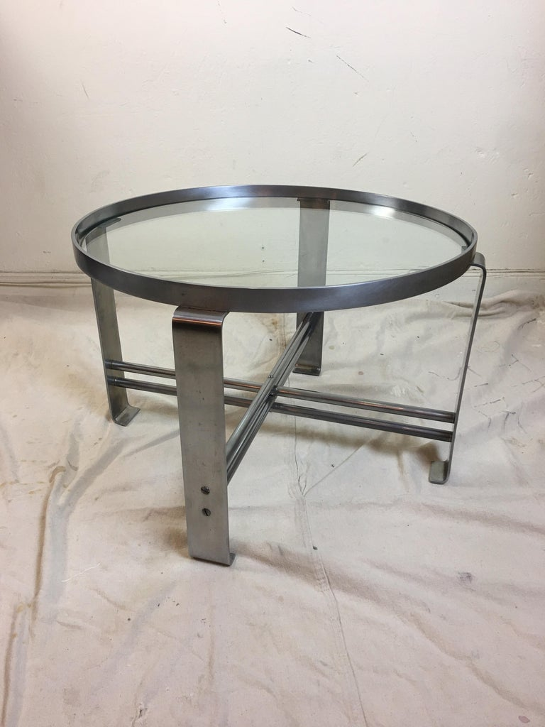 Wolfgang Hoffmann for Howell Round Chrome Coffee Table For Sale 3