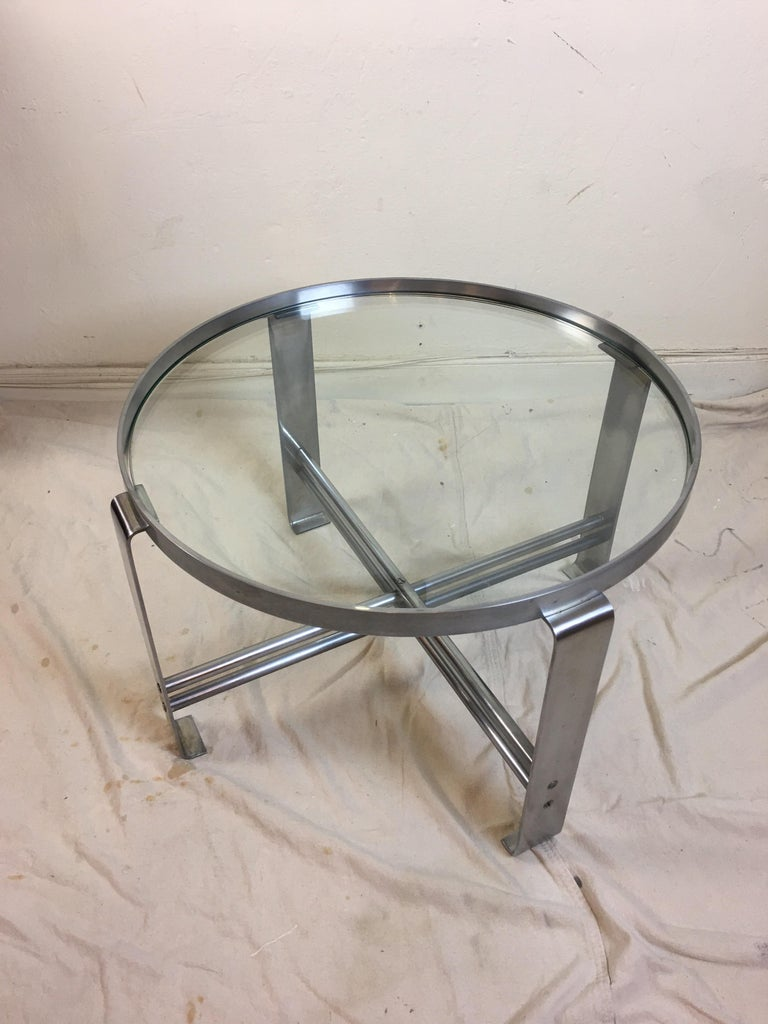 Wolfgang Hoffmann round glass and chrome coffee table for Howell Furniture. Probably his most iconic design from the mid-1930s. Satin chrome finish appears to be original, some small flaws as shown in photos.