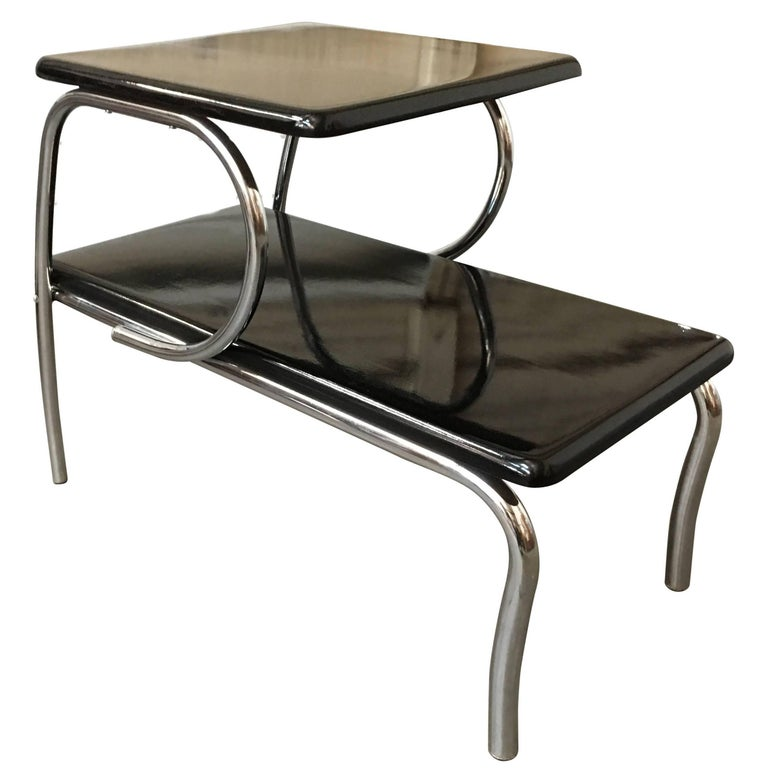 Deco Chrome Coffee Table: Wolfgang Hoffmann Style Art Deco Chrome And Micarta Side