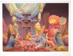 """Wolfgang Hutter - """"The bird, feather, meeting of wings"""" - giclée print, labelled"""