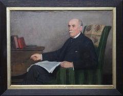 Portrait of a Gentleman Reading - British art Edwardian interior oil painting