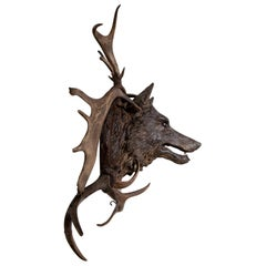 Wolf's Head as Hunting Object, Austria, circa 1880