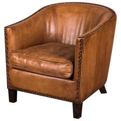 Wolseley Leather Tub Armchair, 20th Century