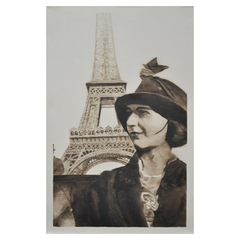 Woman at the Eiffel Tower For Sale