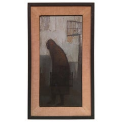 Woman Carrying Bird Cage Signed Oil Painting, 1960